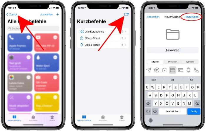 Ordner erstellen in der Kurzbefehle-App