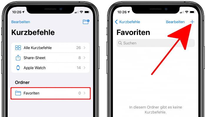 Neuen Kurzbefehl erstellen in der Kurzbefehle-App