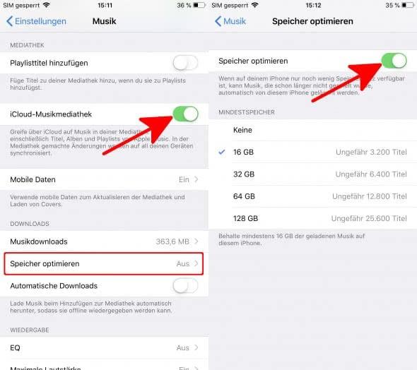 Speicherlimit für Musik-Downloads einrichten in Apple Music