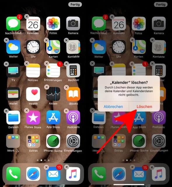Iphone icons löschen
