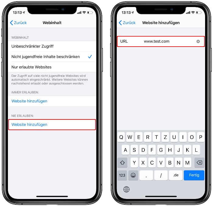 Bestimmte Safari Seiten sperren auf dem iPhone