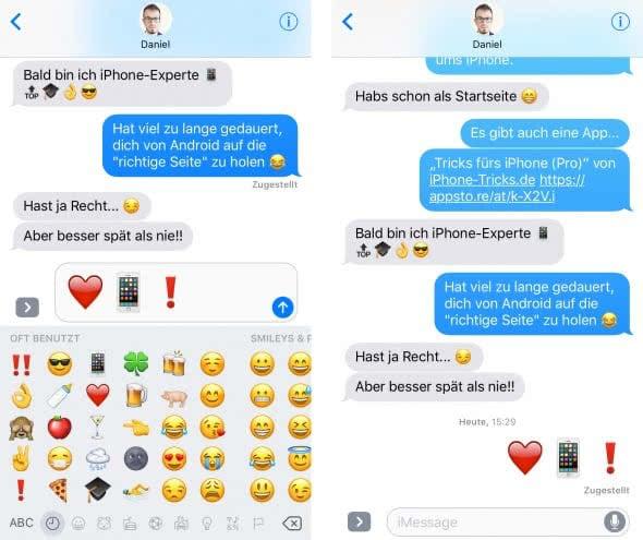 Emojis 3x größer machen in Nachrichten App