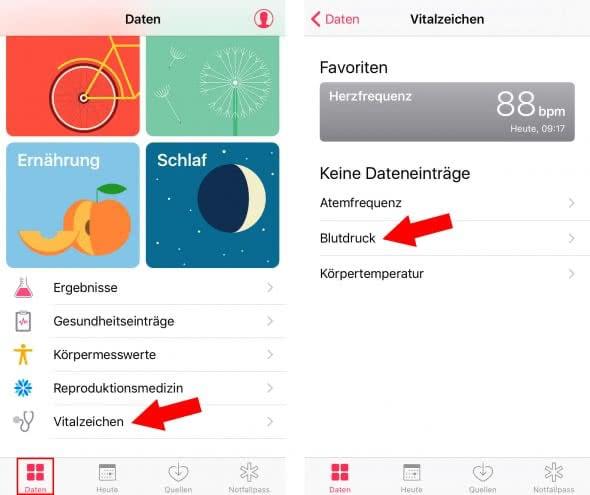 Gesundheitsdaten manuell eintragen in Health App