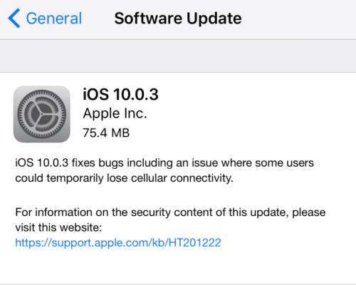 iOS 10.0.3 nur für iPhone 7
