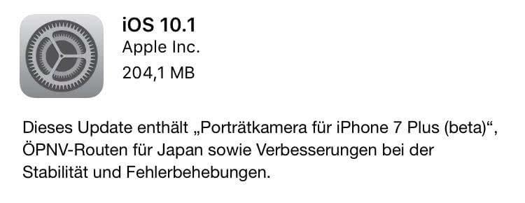 Release Notes von iOS 10.1