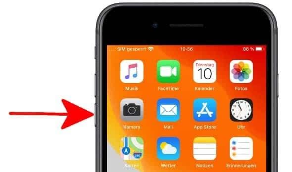 Leiser-Taste am iPhone 7 gedrückt halten