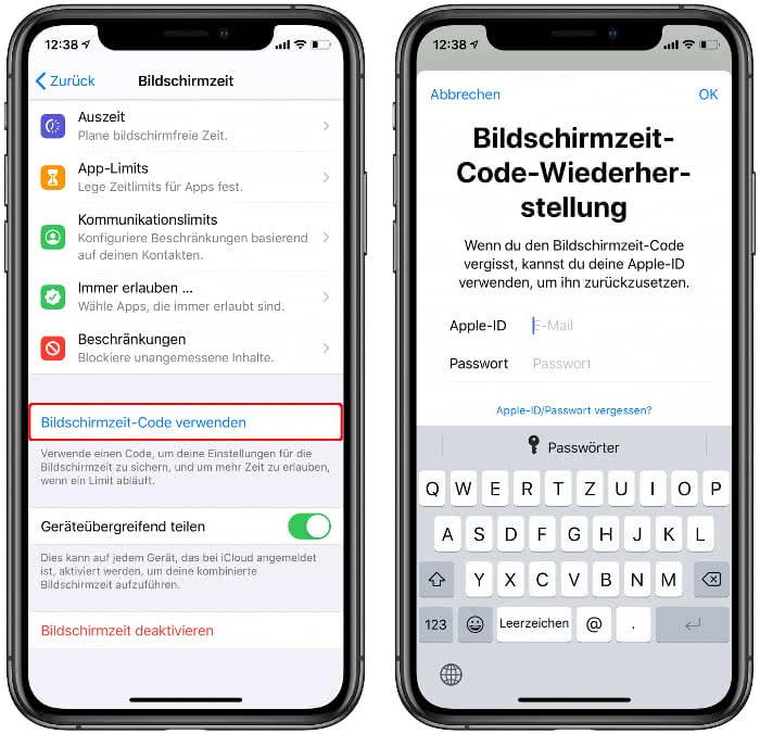 Bildschirmzeit-Code verwenden auf dem iPhone