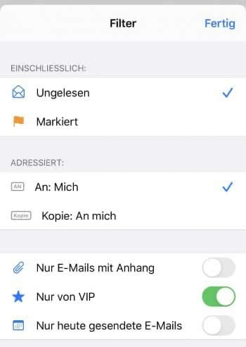 Filteroptionen in der Mail-App