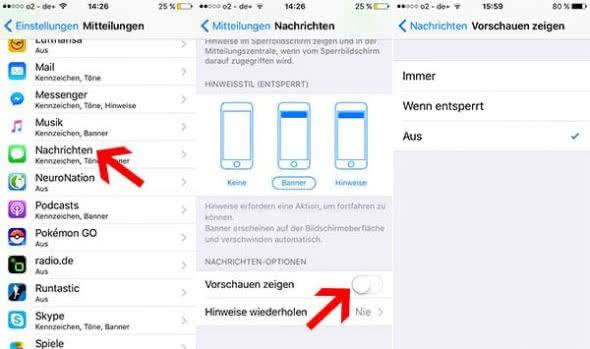 iMessage Nachrichten - Mitteilungen im iPhone-Lockscreen ausblenden