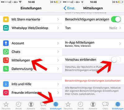 WhatsApp Nachrichten - Mitteilungen im iPhone-Lockscreen ausblenden