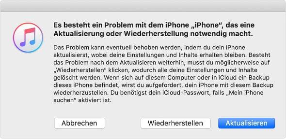 iPhone Wartungszustand nutzen in iTunes