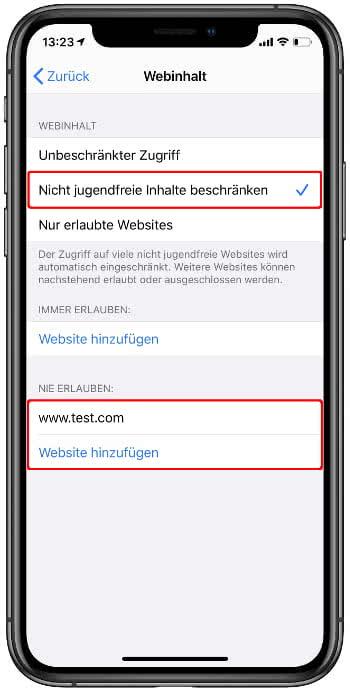 Nicht jugendfreie Inhalte beschränken auf dem iPhone