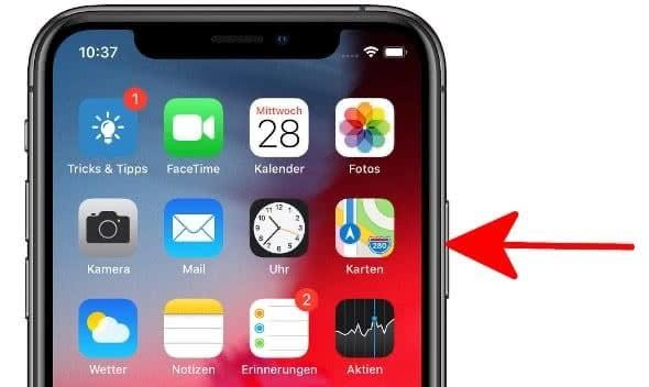 Seitentaste am iPhone X gedrückt halten