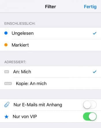 Mail App – Filter einstellen