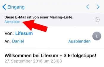 Von Mailing-Liste abmelden