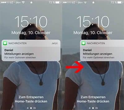 Mitteilungen im Lockscreen öffnen in iOS 10