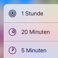 Timer stellen mit 3D Touch