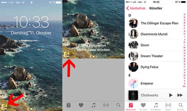 Vorgeschlagene Apps öffnen im Lockscreen in iOS 10