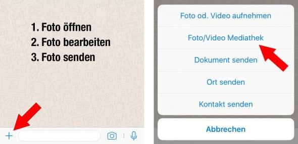 Markierungen zu Fotos und Videos hinzufügen in WhatsApp