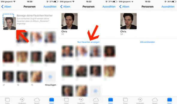"Favoriten anlegen im ""Personen""-Album in iOS Fotos-App"