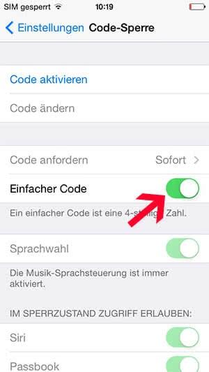 iPhone Code Sperre einstellen