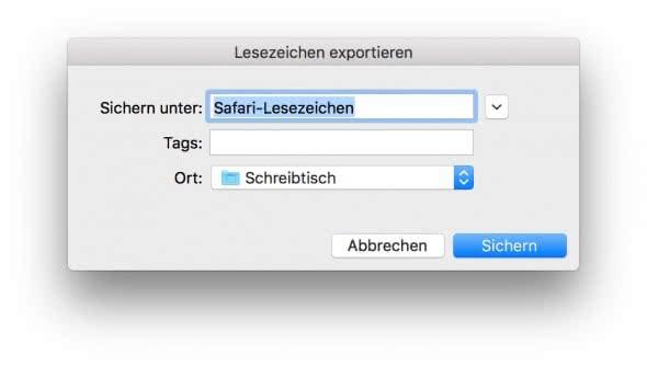 Lesezeichen exportieren auf Mac