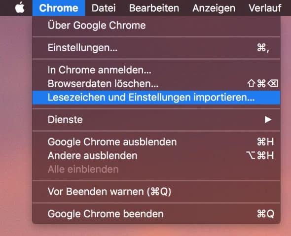 Lesezeichen importieren in Chrome