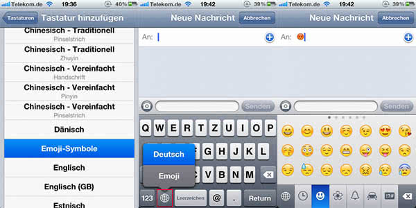 iPhone Smileys aktivieren in älteren iOS-Versionen