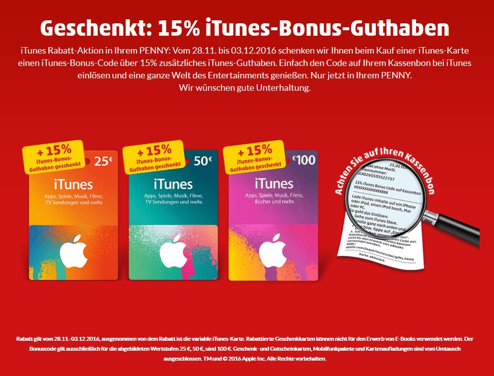 Penny bietet zusätzliches iTunes Guthaben