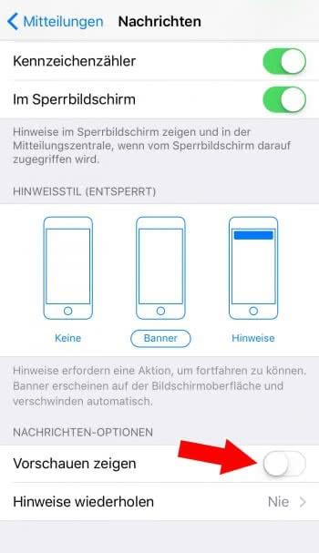 Vorschauen für Nachrichten App deaktivieren