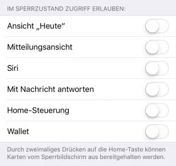 Heute-Ansicht, Mitteilungsansicht, Siri, Home-Steuerung und Wallet am Lock Screen deaktivieren