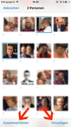 """Manuell Personen hinzufügen im """"Personen""""-Album in iOS Fotos-App"""