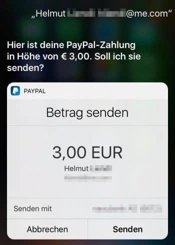 Geld senden und anfordern mit Siri & PayPal