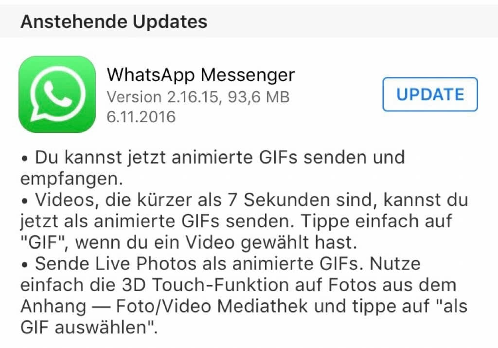 WhatsApp kann nun GIF