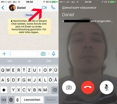 WhatsApp Videoanruf starten