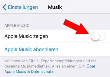 Apple Music ausblenden in Musik App
