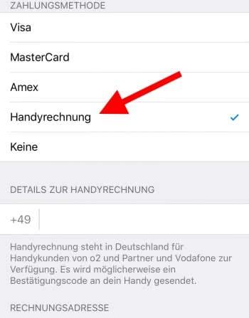 Apps per Handyrechnung bezahlen