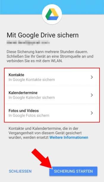 iPhone Daten mit Google Drive sichern