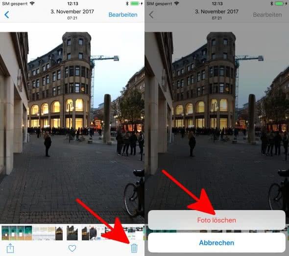 iPhone Foto löschen