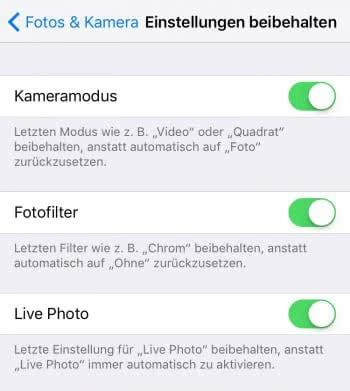 iPhone Kamera Einstellungen beibehalten