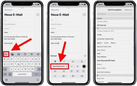 iPhone Schrift ändern im Mail Programm