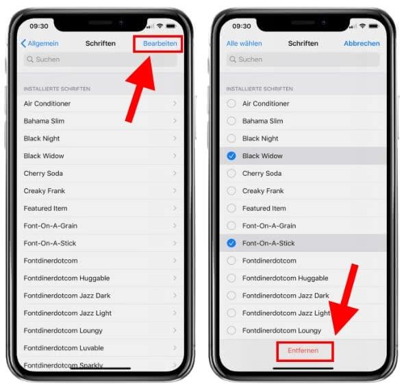 iPhone Schriftarten entfernen