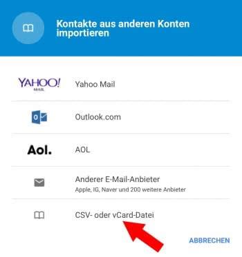 Kontakte in Gmail importieren