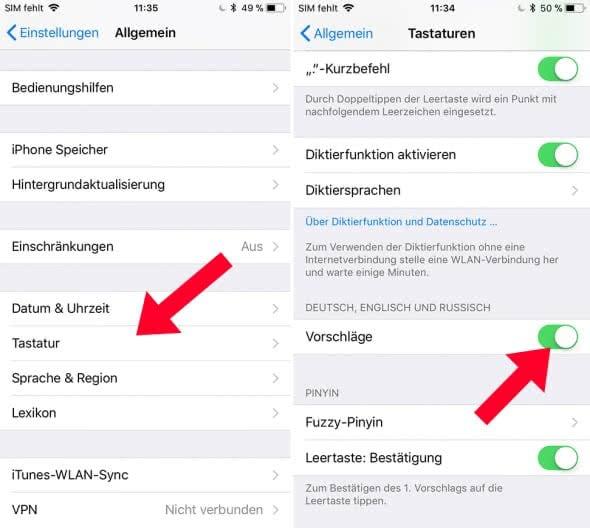 QuickType - Wortvorschläge am iPhone einschalten oder ausblenden