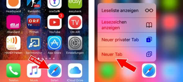 Safari-Tab öffnen mit 3D Touch