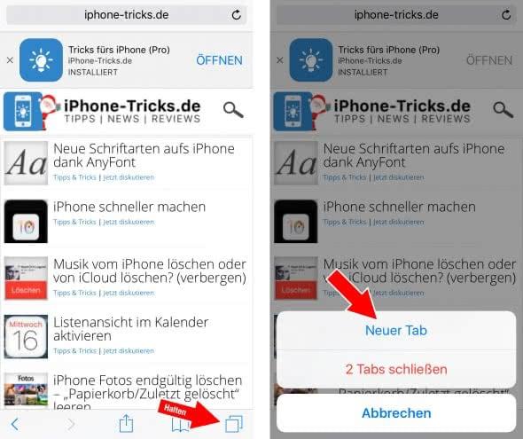 Safari-Tab öffnen mit Tab-Switcher