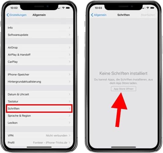 Schrift ändern iPhone