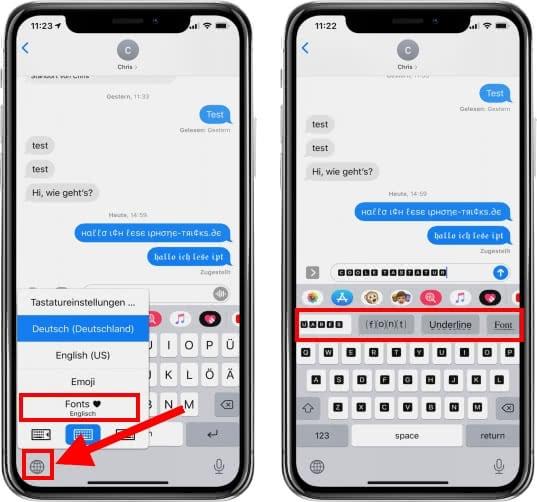Schriften Tastatur in WhatsApp