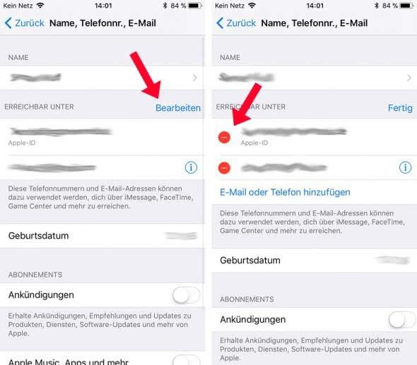Apple-ID am iPhone ändern