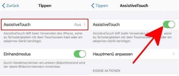 AssistiveTouch aktivieren mit einem Fingertipp auf den Schalter